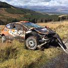 Wrecked: Lukyanuk's Ford Fiesta was badly damaged in testing