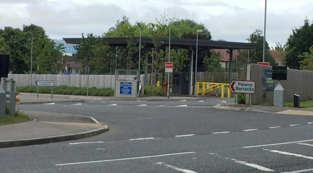 A small device exploded in the back of a postal van inside Palace Barracks in Holywood, Co Down, last August