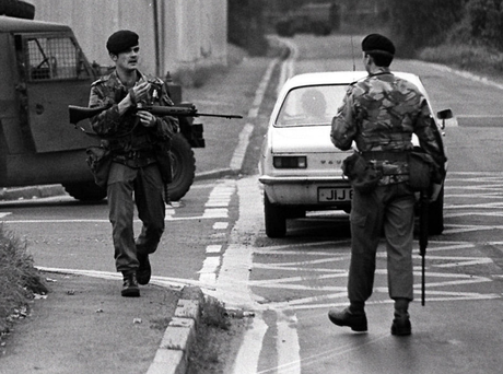 Soldiers outside the Maze Prison after 38 republican inmates escaped in 1983