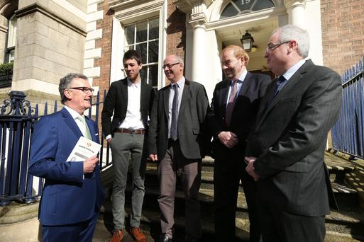 Ulster Unionist Party leader Mike Nesbitt, historian Jason Burke, Professor Graham Walker of Queen's University, Professor Geoffrey Sloan of the University of Reading and Steve Aiken before yesterday's event in Dublin