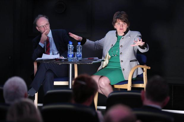 DUP leader Arlene Foster launches the party's education policy paper alongside Peter Weir at Armagh Planetarium