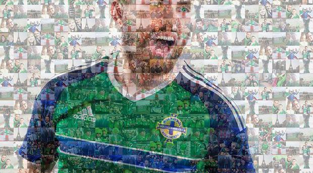 Northern Ireland's Stuart Dallas whose image dominates a mosaic of fans' photographs