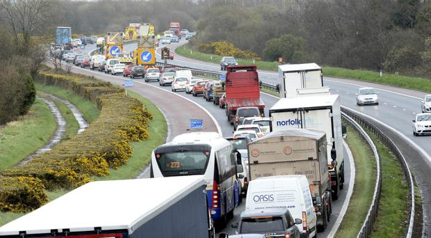 The scene on the M1 into Belfast yesterday afternoon after a lorry mounted the central reservation
