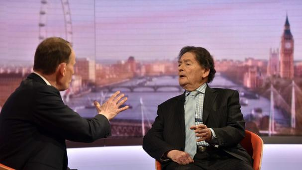Lord Lawson appears on the BBC One current affairs programme The Andrew Marr Show (BBC/PA)