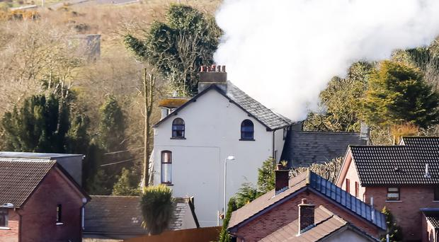 Smoke from the blaze at a property in the Glenview Avenue. Photo by Kevin Scott/Presseye