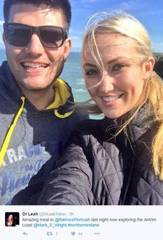 Apprentice winner Leah Totton was all smiles during a romantic break here with new boyfriend Mark Wright at the weekend