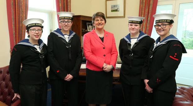 First Minister Arlene Foster chats to members of Belfast Eagle Sea Cadets, Lucy Rutherford, Olivia Smith, Emma McQuitty and Lauren Mitchell
