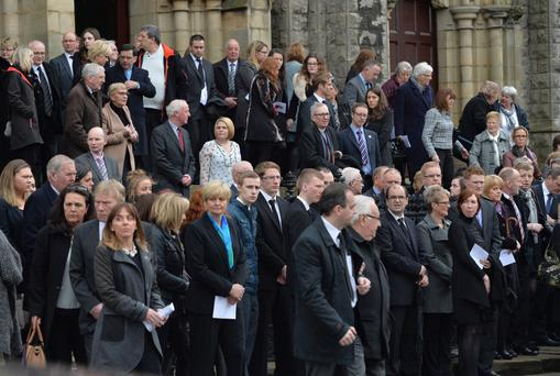 Family members and mourners at the funeral of Co Armagh teenager Lesley-Ann McCarragher
