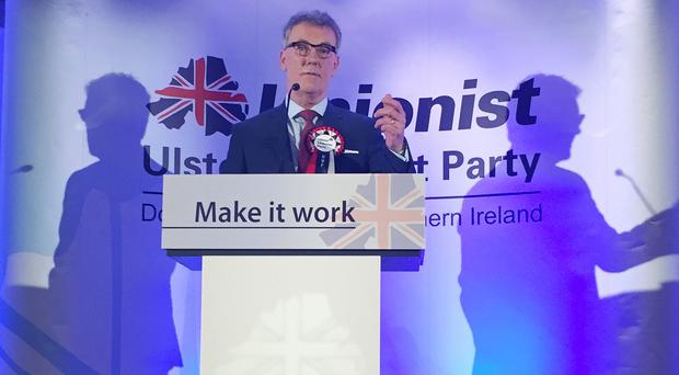 Ulster Unionist leader Mike Nesbitt speaks during the launch of his party's Assembly election manifesto at the Park Avenue Hotel in east Belfast