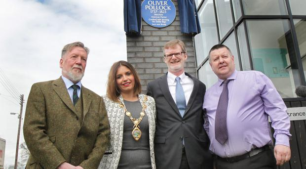 Chris Spurr of the Ulster History Circle; Derry and Strabane mayor Elisha McCallion; US Consul General Daniel J Lawton, and James Kee of the Bready Ulster Scots Group at the unveiling