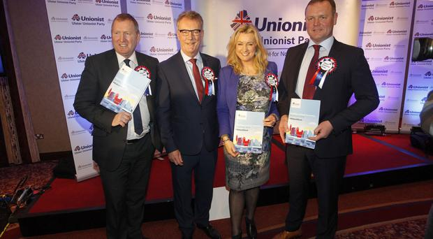 UUP leader Mike Nesbitt with Doug Beattie, Jo-Anne Dobson and Kyle Savage yesterday