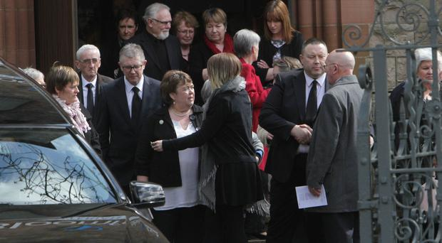 Friends and family at the funeral of Maureen Buchanan at Bloomfield Presbyterian Church yesterday
