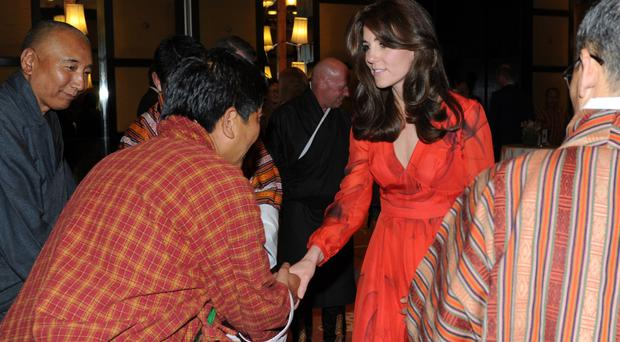The Duchess of Cambridge attends a reception celebrating UK and Bhutanese friendship and cooperation, at the Taj Tashi Hotel in Thimphu, Bhutan