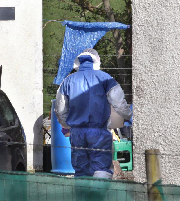 A forensic officer at the house on Glenshane Road in Claudy