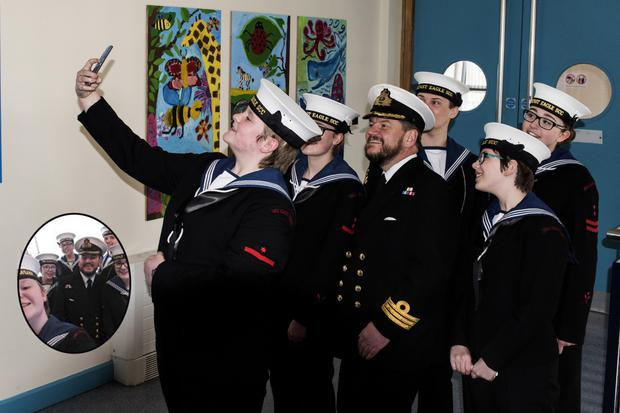 Lieutenant Commander John Gray at the unveiling of the mural