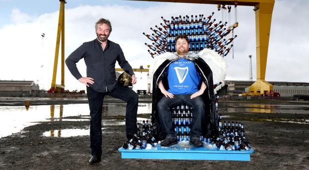 Actor Ian Beattie with the Harp Angel on throne
