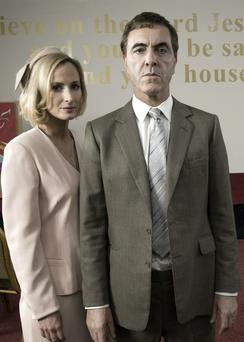 Actors James Nesbitt and Genevieve O'Reilly as killers Colin Howell and Hazel Stewart in The Secret