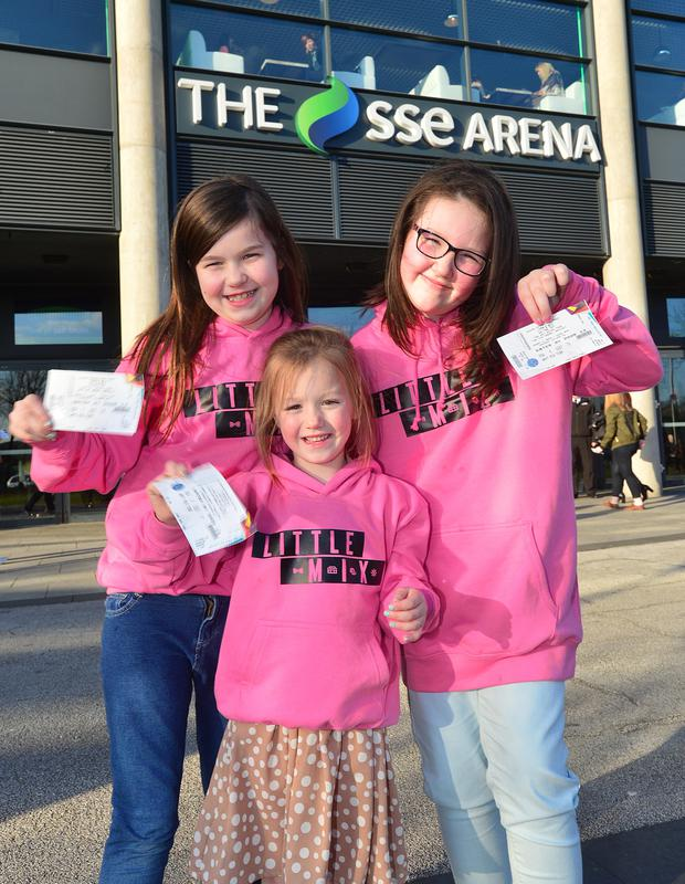 Fans of Little Mix at the SSE Arena in Belfast for the gig last night are (from left) Rebekah McCord, Morgan Cochrane and Jessica McClellan from Belfast