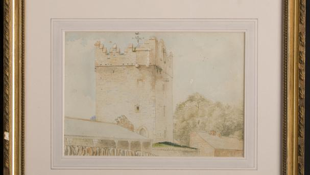 One of the state of the art copies of watercolours drawn by a Co Down aristocrat which have been installed at Castle Ward