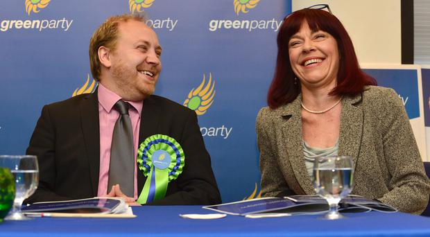 The leader of the Green Party in Northern Ireland, Steven Agnew, and deputy leader Clare Bailey, at the launch of the party's manifesto for the Assembly elections in the Clayton Hotel in Belfast yesterday