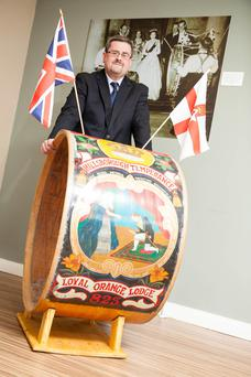 Curator of the Museum of Orange Heritage Dr Jonathan Mattison with a Lambeg drum which was one of a number which serenaded the Queen and Prince Philip during a visit to Northern Ireland in 1953