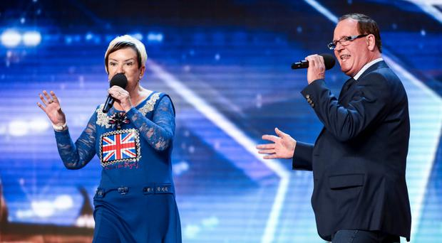 Anne and Ian Marshall on Britain's Got Talent, and (above) the couple in their younger days