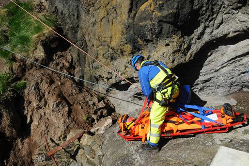 Mock rescue operation at The Gobbins cliff path