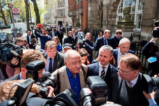 Ken Livingstone is besieged by reporters in London yesterday after he was suspended from the Labour party