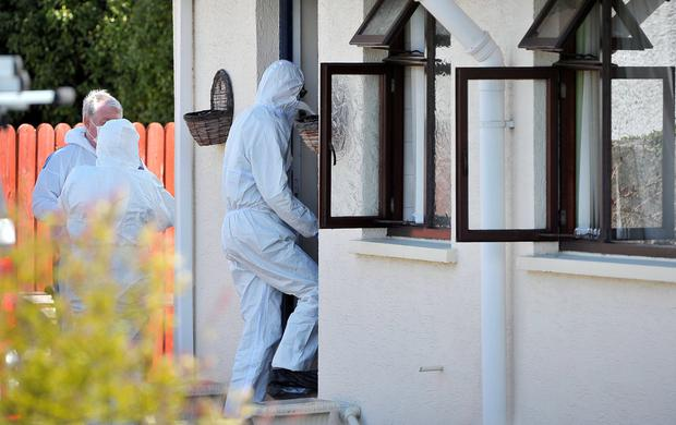 Forensic experts at the property in Newcastle where William Stockdale lived