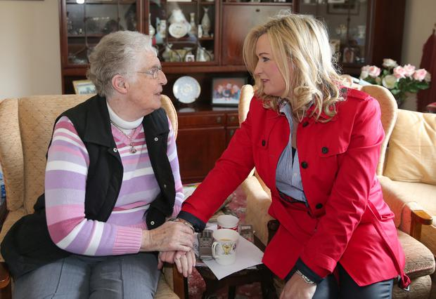 Above: Jo-Anne Dobson of the UUP campaigning in Banbridge and meeting with Sadie Beck
