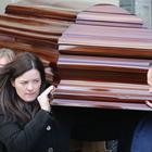 The coffin of Sister Clare Crockett, who was killed in an earthquake in Ecuador, is carried from Long Tower Church in Londonderry following her funeral