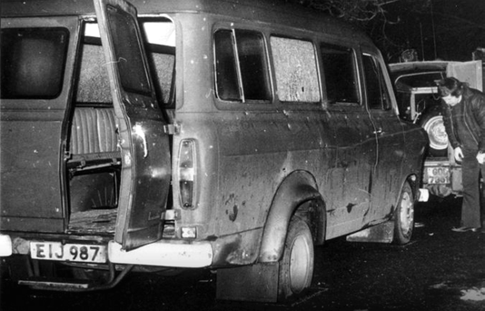 The bullet-riddled minibus in which 10 Protestants were massacred in Kingsmills on their way home from work in 1976