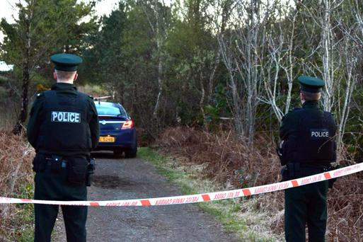 Police at scene of the attack at Peatlands Park, Dungannon