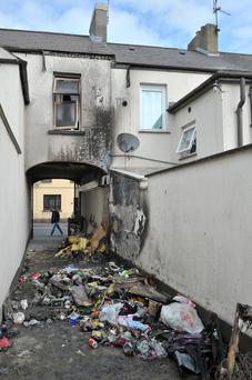The scene of the arson attack in the Victoria Street area of Lurgan, Co Armagh, early yesterday