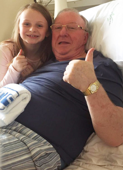 Dennis Taylor in hospital with daughter Amber