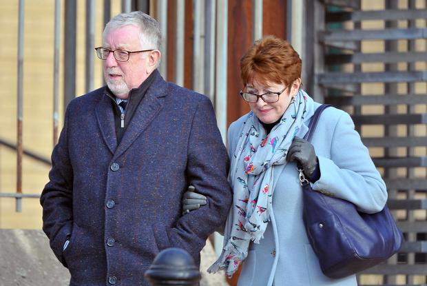 Ian McGoldrick and wife Mary outside court at an earlier appearance