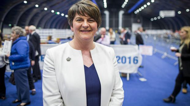 DUP leader Arlene Foster at the Titanic Exhibition Centre