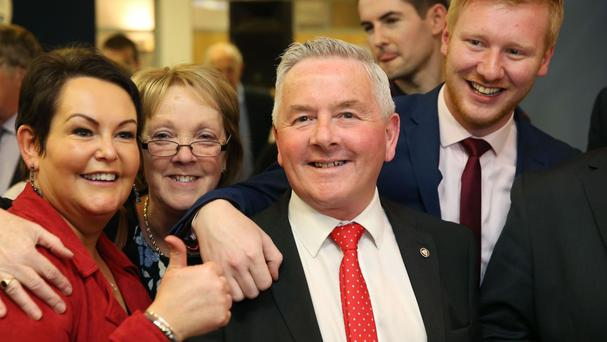 Richie McPhillips of the SDLP celebrates being elected in the constituency of Fermanagh and South Tyrone