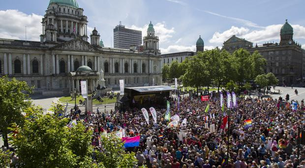 Thousands walked through Belfast last June in a rally for gay marriage rights
