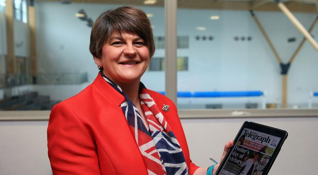 First Minister Arlene Foster at the election count in Omagh with the Belfast Telegraph coverage