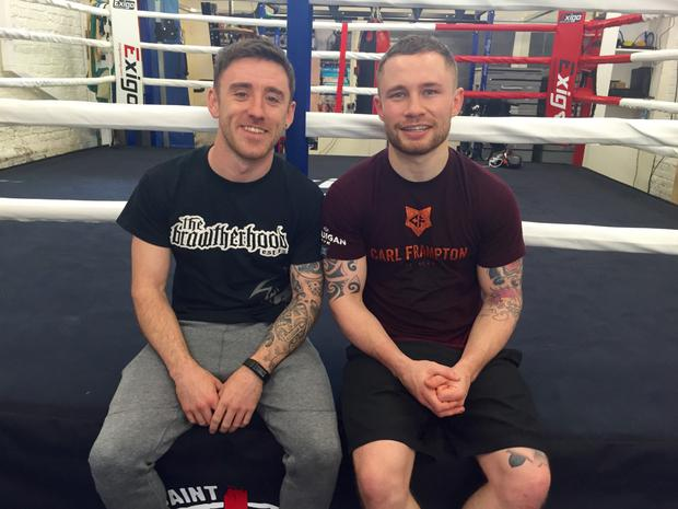 North West 200 racer Lee Johnston with boxer Carl Frampton after their sparring session
