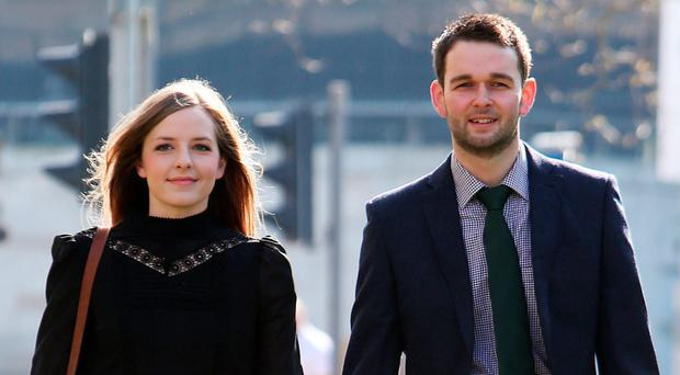 Daniel and Amy McArthur of Ashers bakery at Belfast High Court yesterday. Photo: Brian Lawless/PA Wire