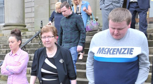The family of Patsy McCroary leaving court yesterday after seeing killer driver Paul Nicholl jailed for five years