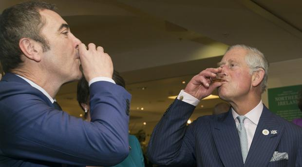 The Prince of Wales (right) and actor James Nesbitt sampling Dunville's Old Irish Whiskey, a 46% 10-year-old single malt