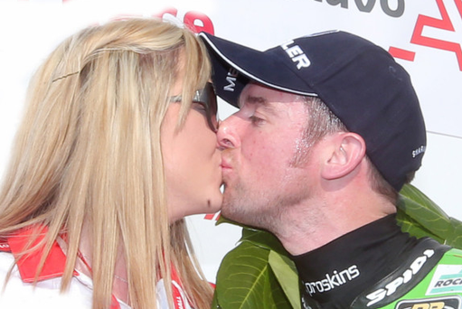 Seeley gets a congratulatory kiss from girlfriend Danni Henry
