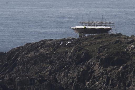 The model of the Millennium Falcon being built on the Star Wars set at Malin Head in Co Donegal