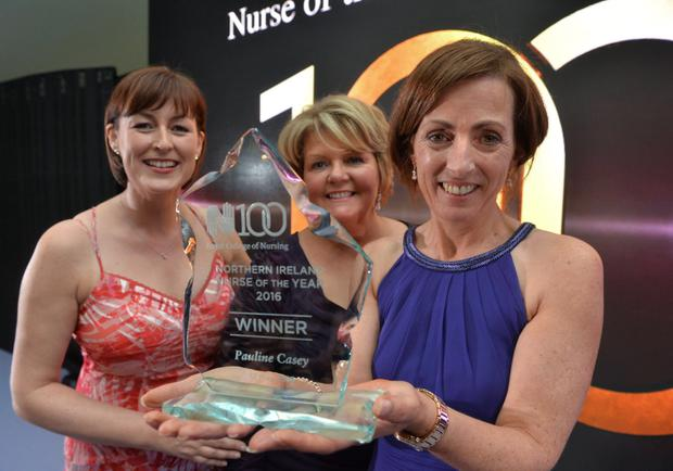 BBC NI's Donna Traynor; Janice Smyth, director of the RCN in Northern Ireland, and Pauline Casey, RCN Northern Ireland Nurse of the Year 2016