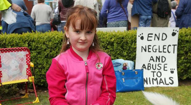 Stella Jarvis (8) was there with dog Poppy and mum Helen Jarvis (46) from Lisburn