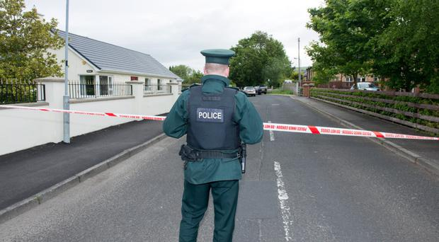 Police at the scene of the murder attempt in Eglinton, Co Londonderry