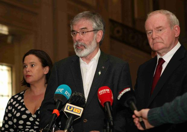 Sinn Fein's Gerry Adams, Martin McGuinness and Mary Lou McDonald speak to the media at Stormont